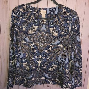 Chico's Long Sleeve Blue Print Cotton Top 0